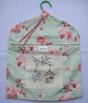 Blue bird embroidered peg bag